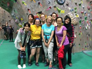 Girls climbing night groupie